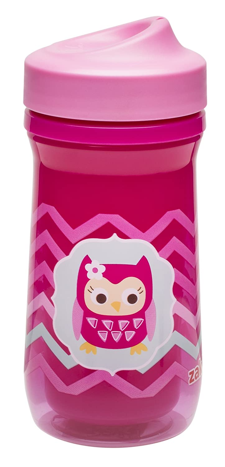 Zak! Designs Toddlerific Perfect Flo Toddler Cup with Pink Owl, Double Wall Insulated Construction and Adjustable Flow Technology, Break-resistant and BPA-free Plastic, 9.3 oz.