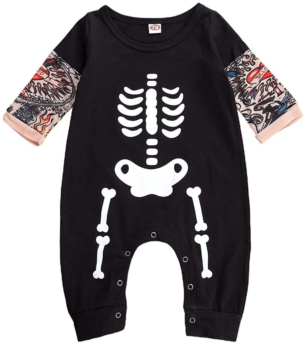 Newborn Baby Girls Boys Skull Floral Romper Jumpsuit Sleeveless Bodysuit Playsuit Headband Halloween Outfit