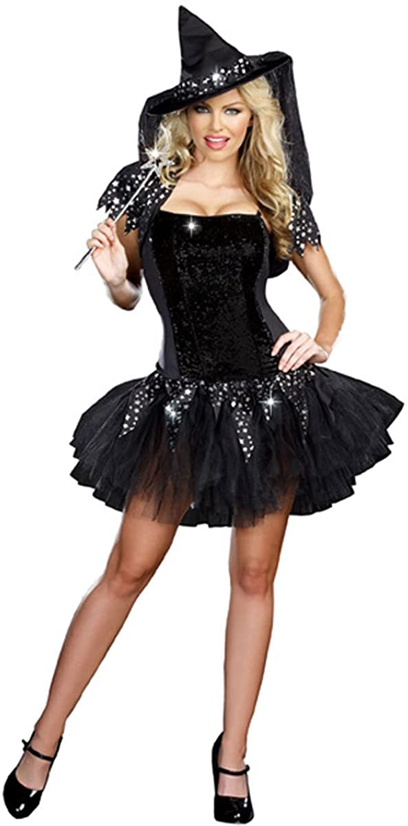 PINSE Halloween Woman Starry Night Witch Costume (XL)