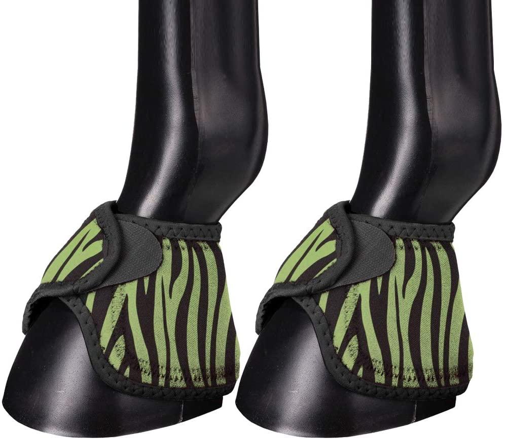 Tough-1 No-Turn Overreach Boots Medium Lime Zebra