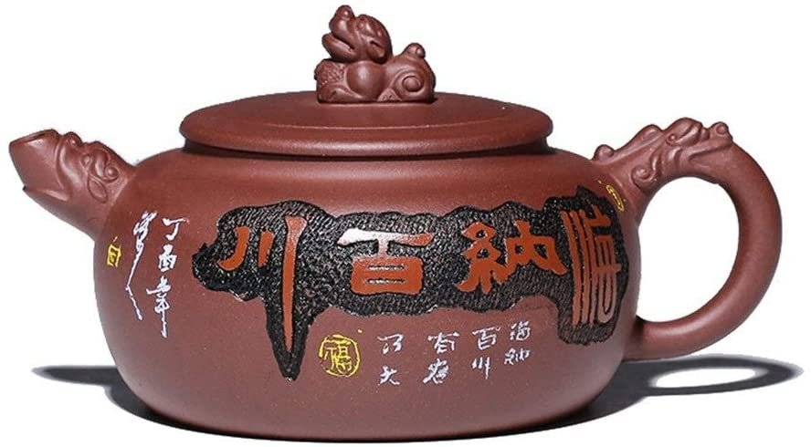 Bin Zhang teapot hand-ore bottom slot clear reveal Hannaford carving teapot kettle (Color : Red)