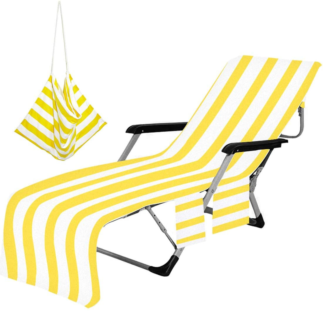 Lounger Beach Towels, Portable Beach Chair Cover with Pockets Pool Lawn Patio Lounge Chair Towel Cover Holidays Vacation Hotel Sunbathing Quick Drying Towels (Yellow)