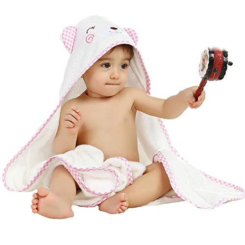HUGMO Premium Bamboo Baby Towel, Super Soft 500 GSM Organic Hooded Robe for Kids Age 1-6 with Sleepy Bear Design - Pink checkred Edge