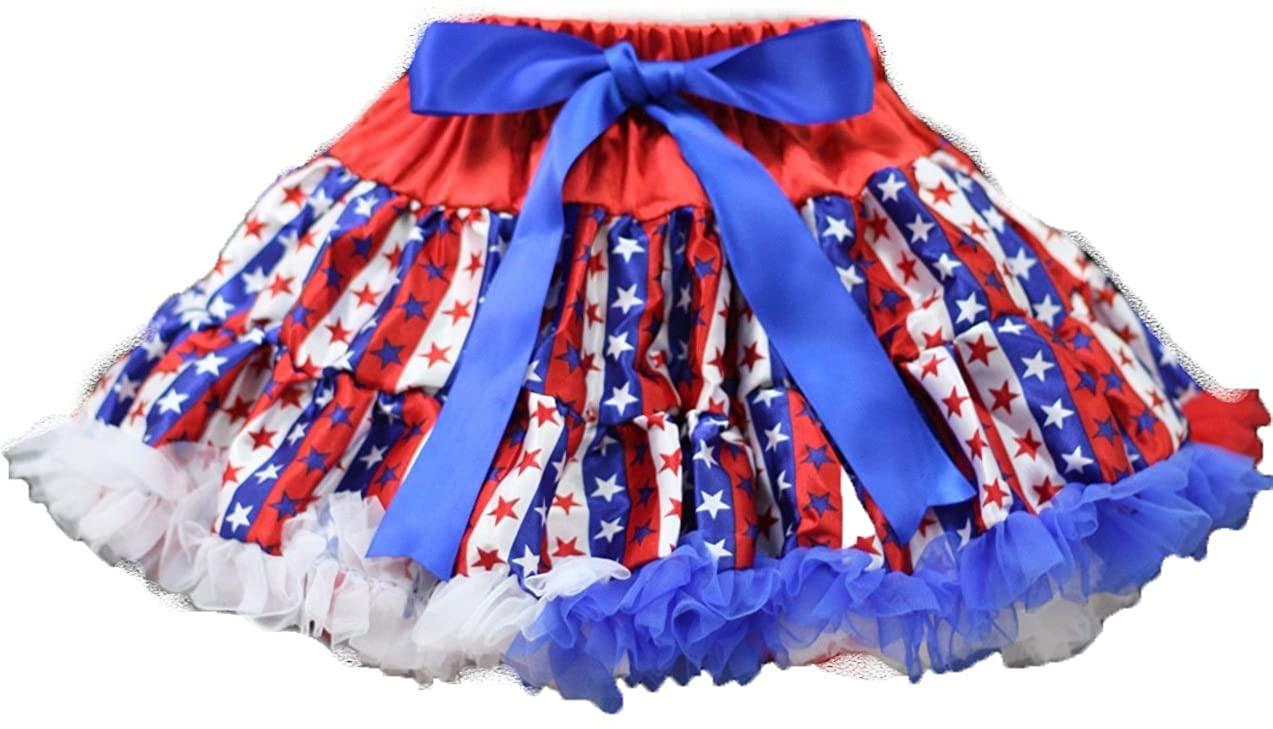 4th July Dress RWB Stripes Stars Pettiskirt Skirt Tutu Girl Clothing 1-8y