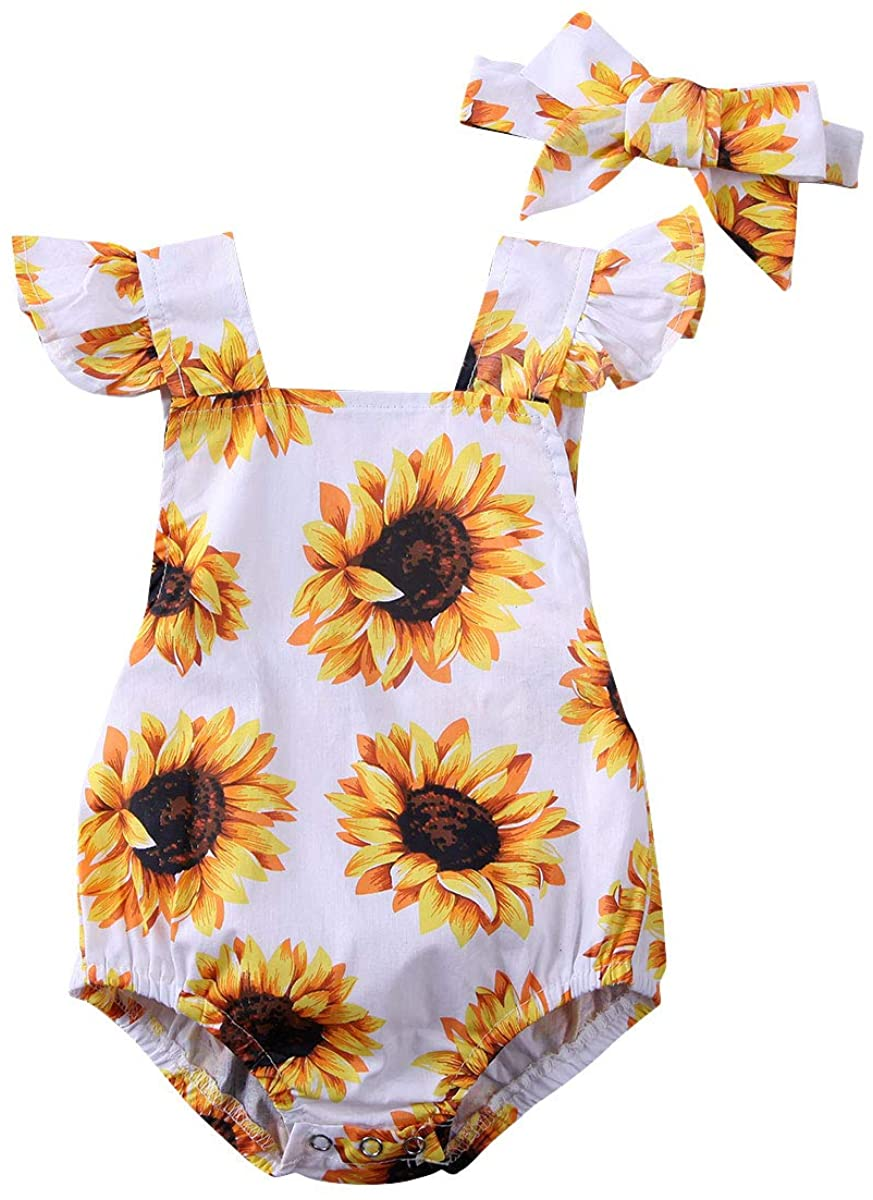 Newborn Baby Girl Summer Clothes Fly Sleeves Sunflower Printed Romper+Bowknot Headband 2PCS Bodysuit Jumpsuit Outfit Set