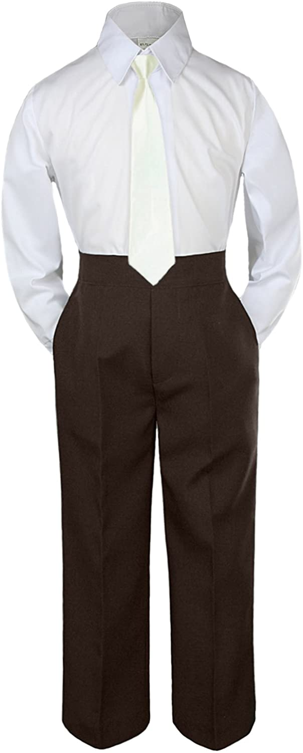 Leadertux 3pc Formal Baby Toddler Boys Ivory Necktie Brown Pants Suits Sets S-7