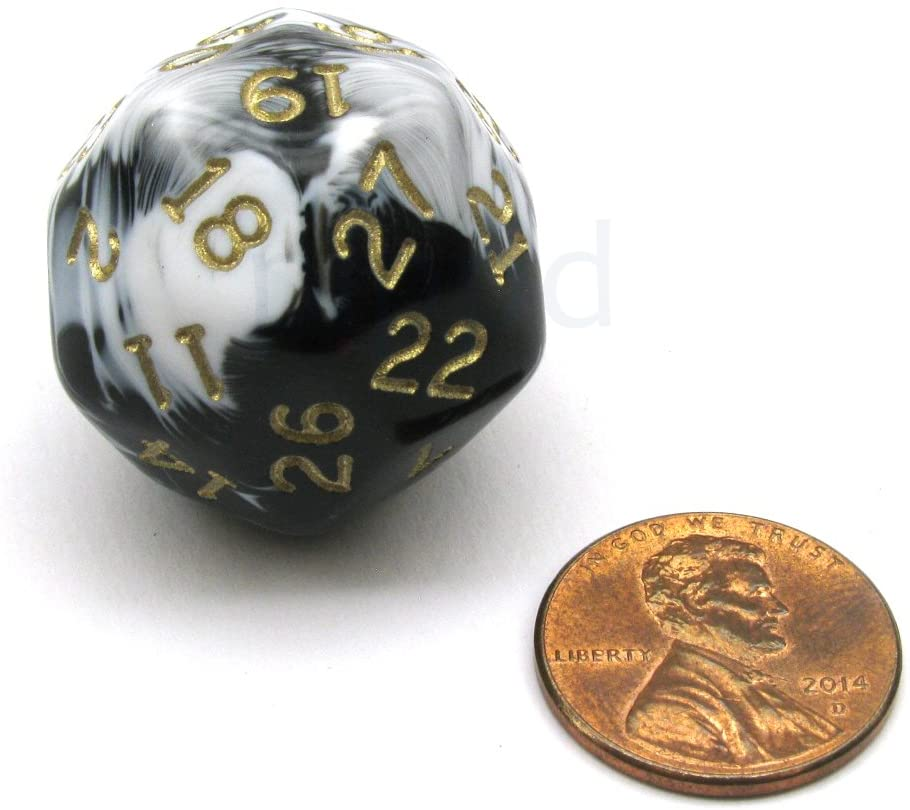 Chessex Triantakohedron D30 30 Sided 25mm Dice - Marbleized Black/White w Gold