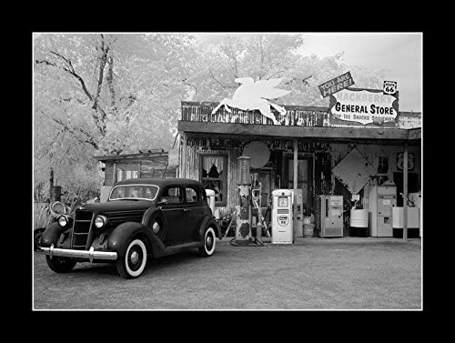 8 x 10 All Wood Framed Photo Rt 66 Gas Station 1930s