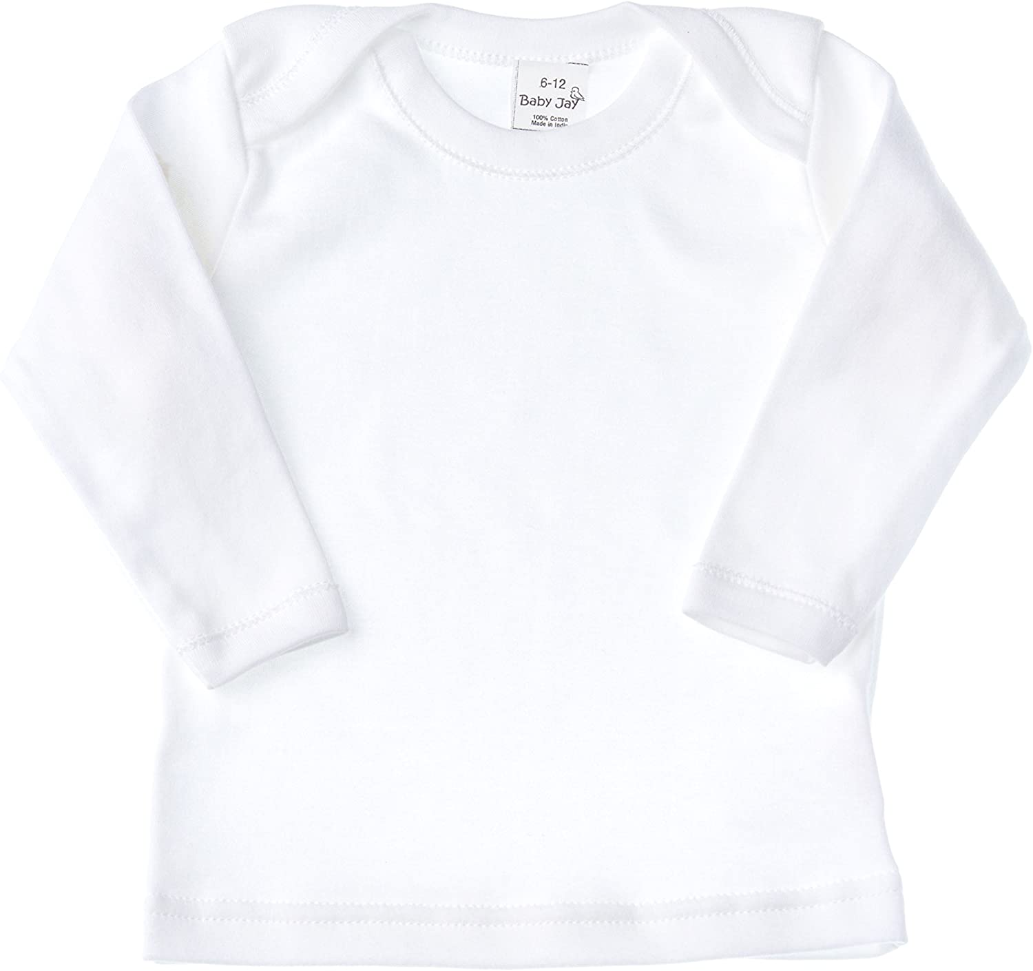 Baby Jay Long Sleeved Undershirt - White Unisex Baby and Toddler Soft Cotton Tee with Lap Shoulder - Boys and Girls T Shirt