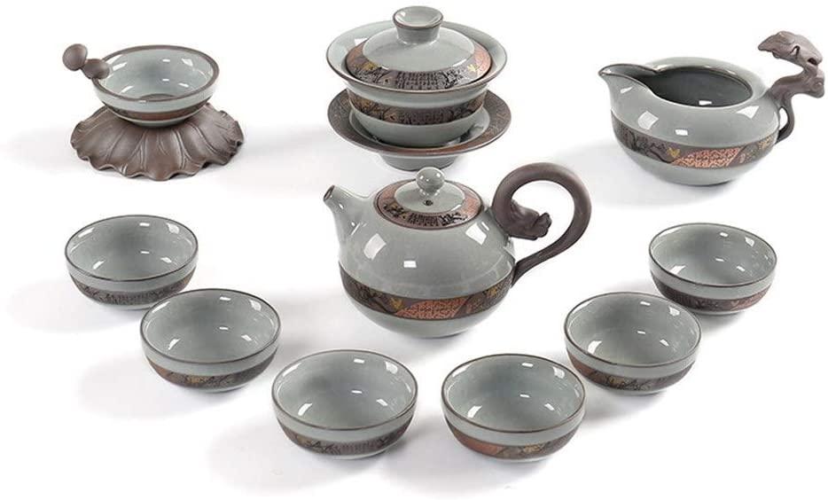 MADONG Ge ware celadon ceramics household ceramic tea set of kung fu suit Ru opening piece tea set Gift Box (Color : Clivia 1)