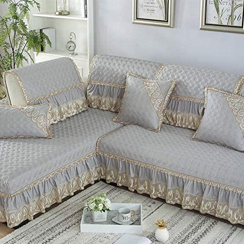 Xiao Tian European Four Seasons Universal Non-Slip Combination Chaise Sofa Cushion Sofa Cover Cushion Full Bag Universal Sofa Cover (Color : Monash Grey, Size : 70210)