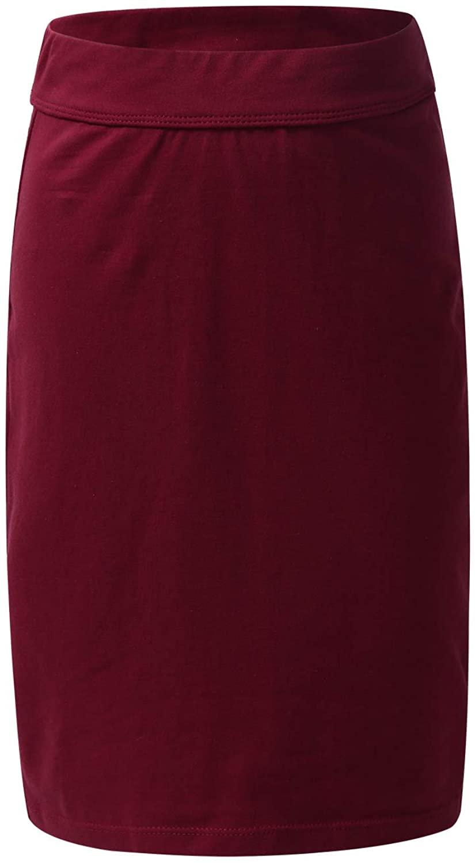 MSemis Kids Girls Solid Color Knee Length Pencil Skirts Modest School Uniform Mini Dress
