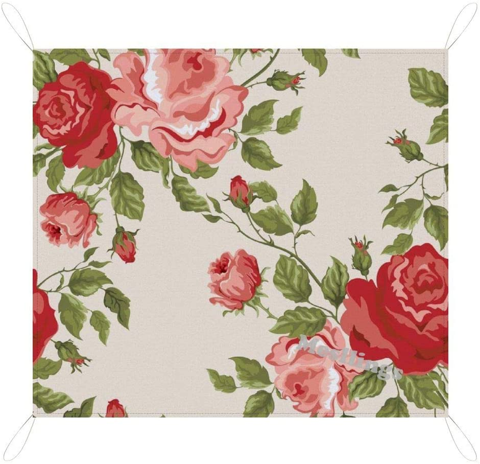 Mesllings Picnic & Beach Blanket Handy Mat, Fresh Spring Style Roses Pattern (4), Picnic Mat Sandproof Waterproof Padding Portable Lightweight Ourdoors for Family, Friends