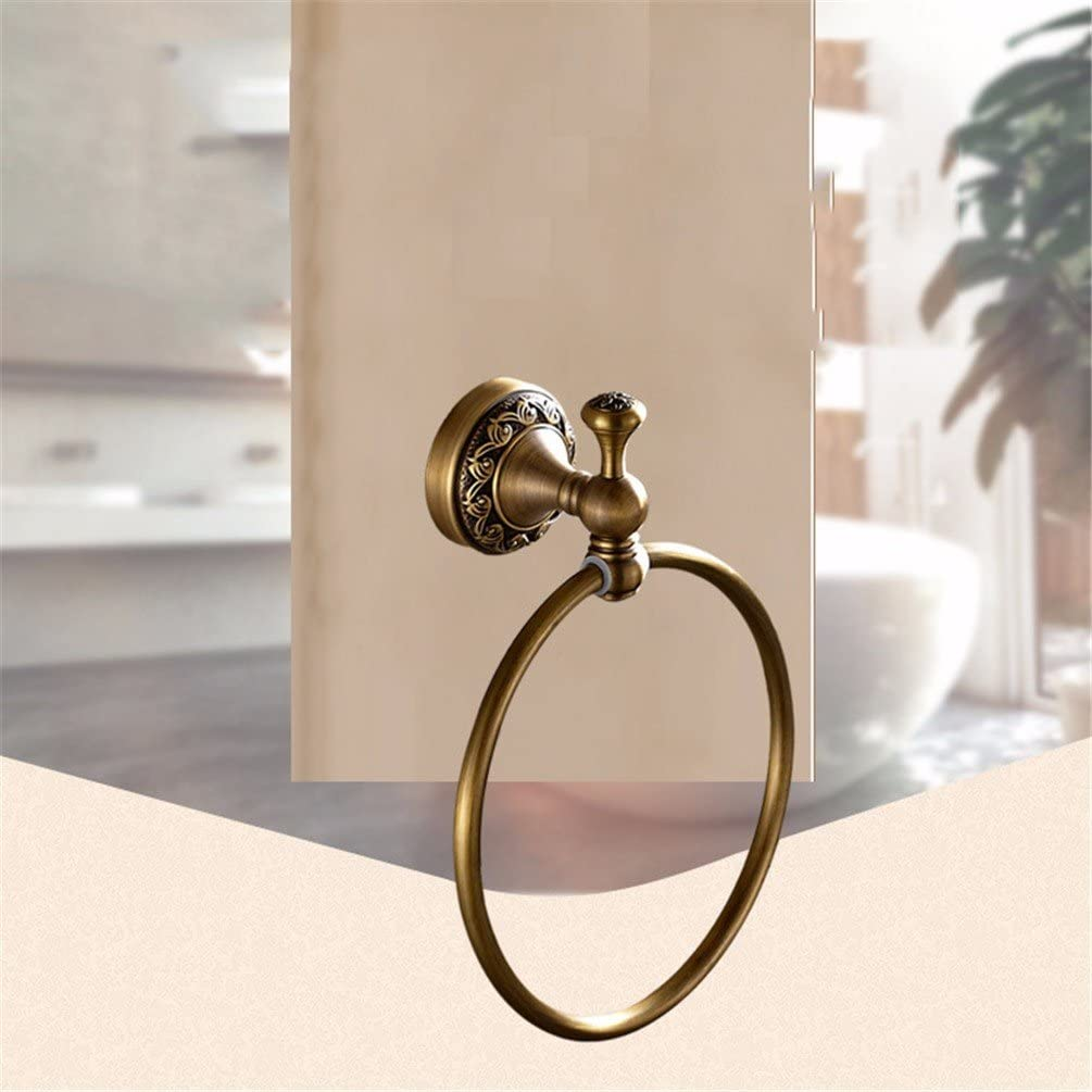 AiRobin-Continental Brass Carved Base Wall Mounted Towel Ring Bathroom Accessory