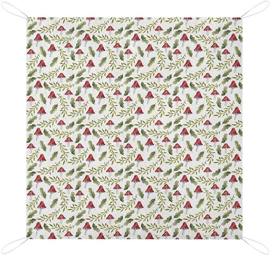 Nomorer Mushroom Picnic Blanket Waterproof Bottom, Watercolor Pattern Green Leaves Forest Elements Botanical Woodland Theme Foldable Picnic Blanket, 67