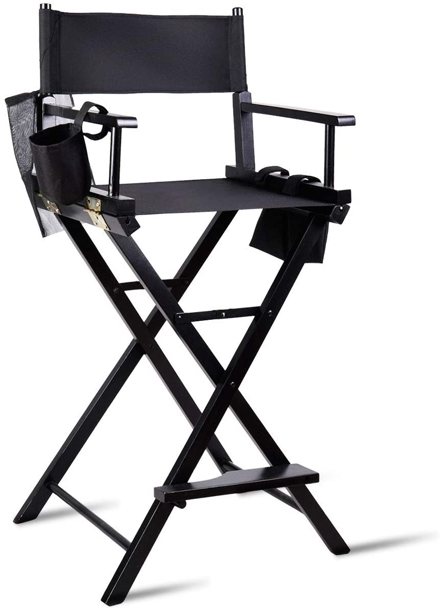 TANGKULA Director's Chair, 30 Bar Height Collapsible Portable Wood Frame Foldable Tall Professional Makeup Artist Chair with Side Cup Holder, Side Storage Bag, Footrest
