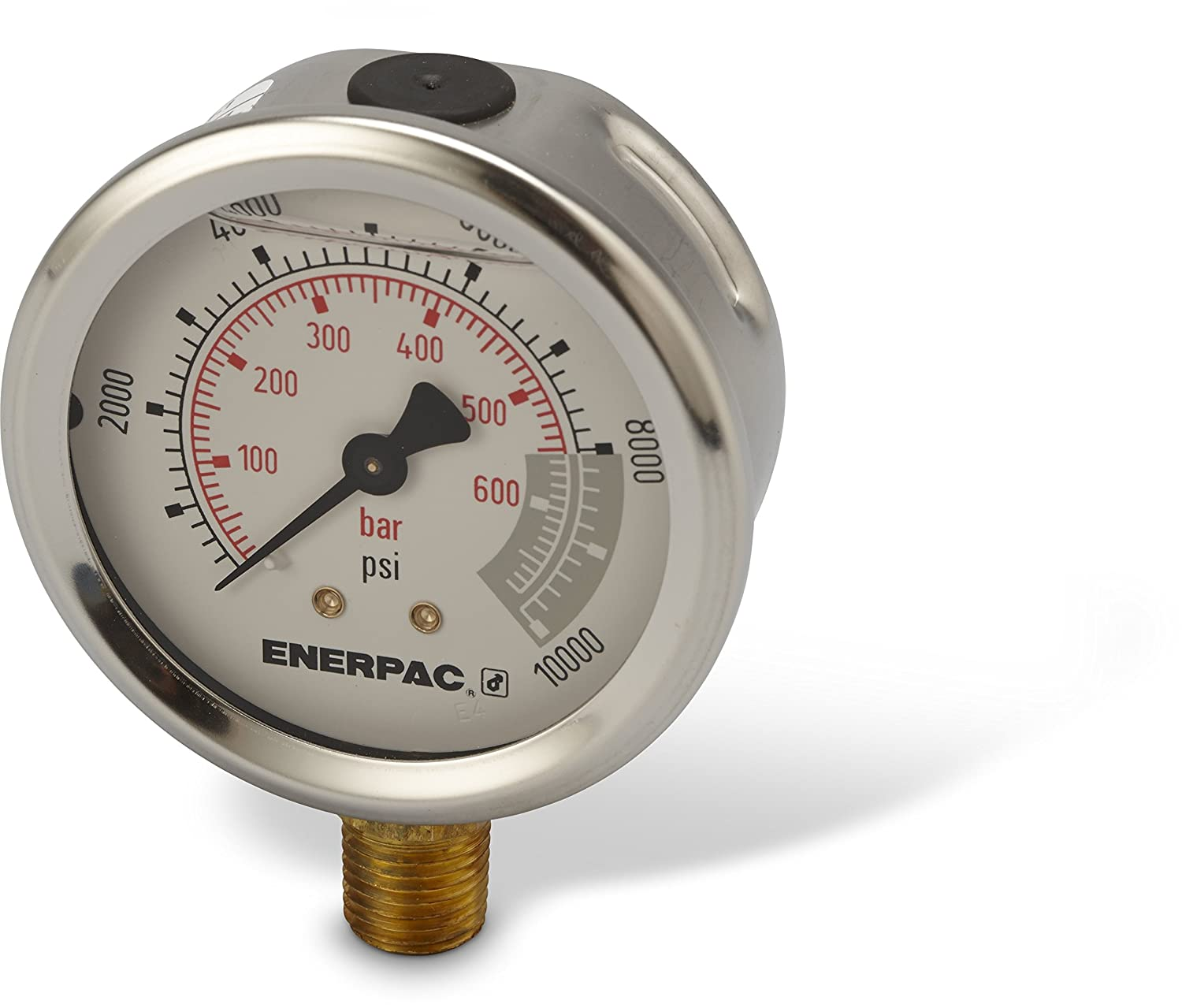 Enerpac G2535L Hydraulic Pressure Gauge with Dual 0 to 10,000 PSI and 0 to 700 Bar Range, 2-1/2
