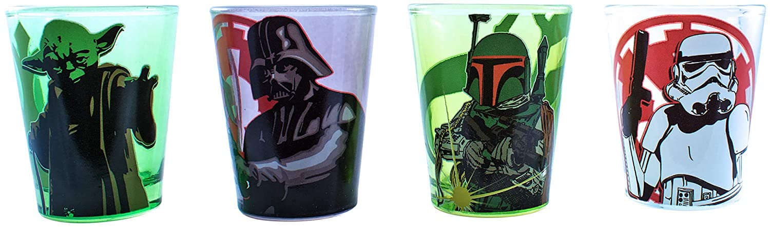 Silver Buffalo SW031SG3 Star Wars Character Fight Mini Glass Set, 4-Pack