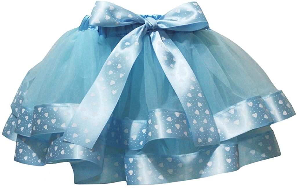Petitebella Dress Blue 4 Layer Heart White Dots Ribbon Girl Petal Skirt Nb-8y