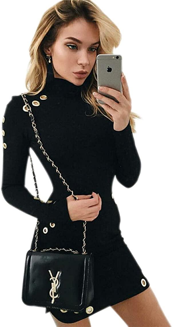 JJ-GOGO Fashion Autumn High Neck Women Fitted Dress