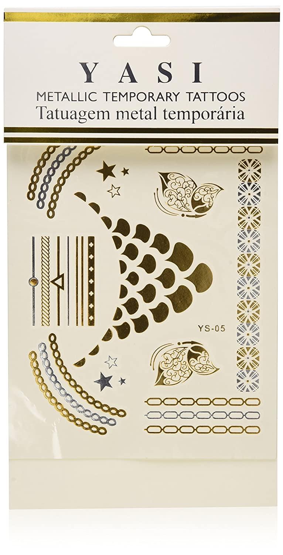 New Metallic Tattoo Gold Silver Black Temporary Bling Flash Tats Craft Sticker 1 Sheet (#156E)