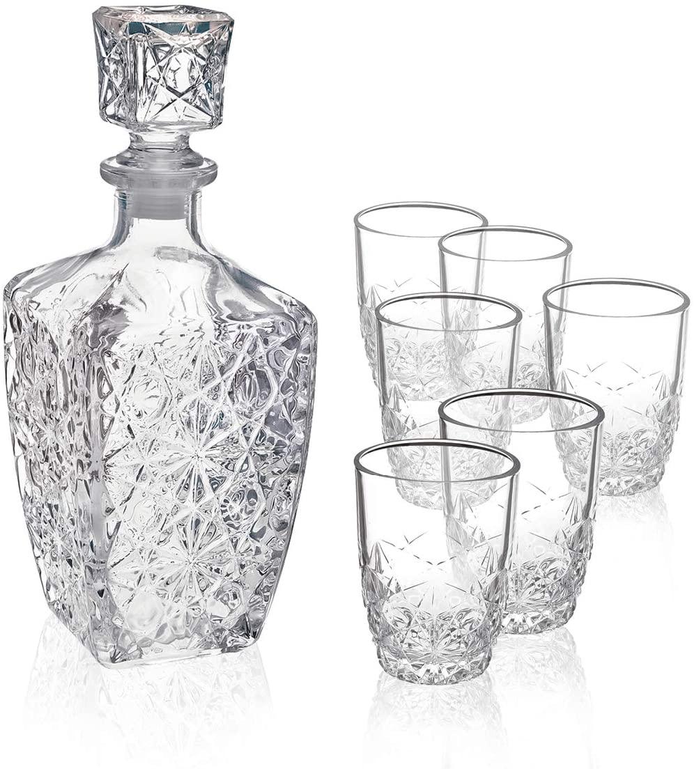Bormioli Rocco Dedalo Whiskey Gift Set – Sophisticated 26.25oz Diamond Decanter & 6 Etched 8.75oz Whiskey Glasses With Sparkling Star-Cut Detailing – For Whiskey, Bourbon, Scotch & Liquor