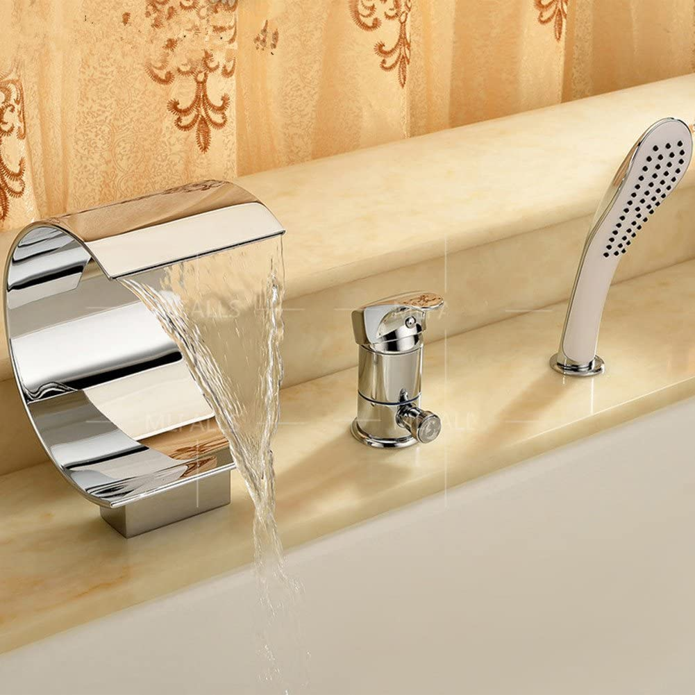 Bathroom Waterfall Faucet Three-Set/Copper hot and Cold Water taps/sit-Type taps-A