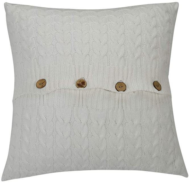 NuvoLe Home Cotton Knitted Cushion Cover, Soft & Cozy White Decorative Throw Pillow Cover Case for 20x 20Cushion Insert