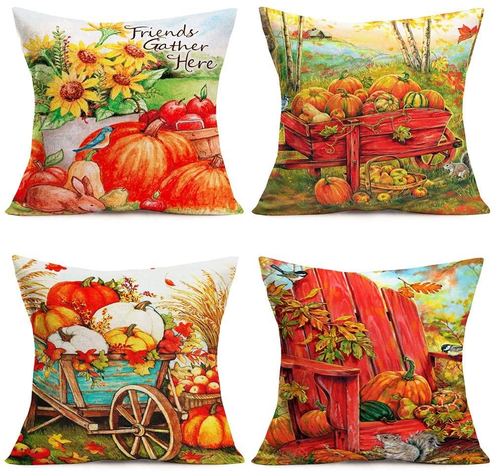 "Tlovudori 4Sets Vibrant Autumn Harvest Farmhouse Pumpkin Sunflowers Throw Pillow Covers Fall Maple Leaves Wheelbarrow Farm Animals Cotton Linen Pillow Cushion Cover for Sofa 18""X18"" (PW-Farm)"