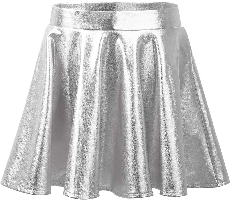CHICTRY Girls' High Waist A-line Full Flared Metallic Cosplay Dance Twril Skater Skirt Fancy Dress