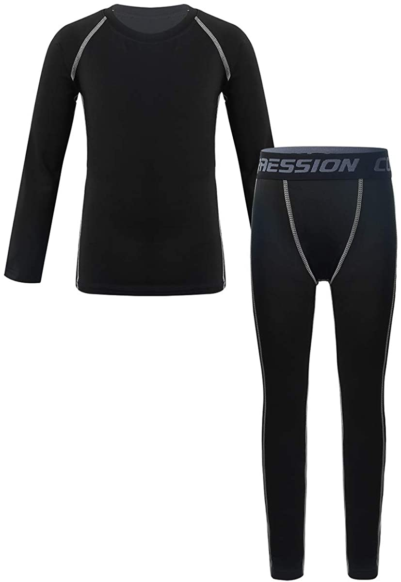 MSemis Kids Boys Girls Long Sleeve Compression Shirts and Pants Set Professional Sports Outfit