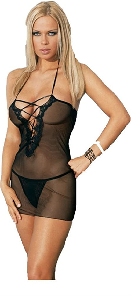 Fishnet and Stretch Lace lace-up front dress and thong