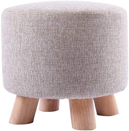 HOMRanger Round Wooden Support Upholstered Footstool Household Ottoman Stool Sofa Footrest Low Stool 4 Legs and Removable Linen Cover / 28cmx25cm / Max.100KG