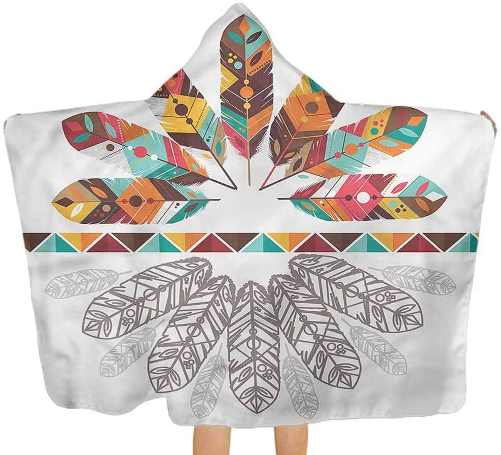 Baby Hooded Bath Towel Tribal, Native American Feathers Premium Baby Towel with Hood for Toddlers, Ultra Soft, Super Absorbent Thick 51.5x31.8 Inch