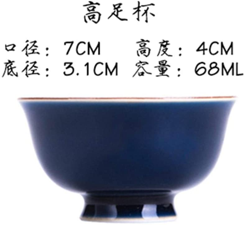 QinMei Zhou Ji blue tea cup kung fu tea cup color glaze owners offering blue handle cup (Color : Tall cup)