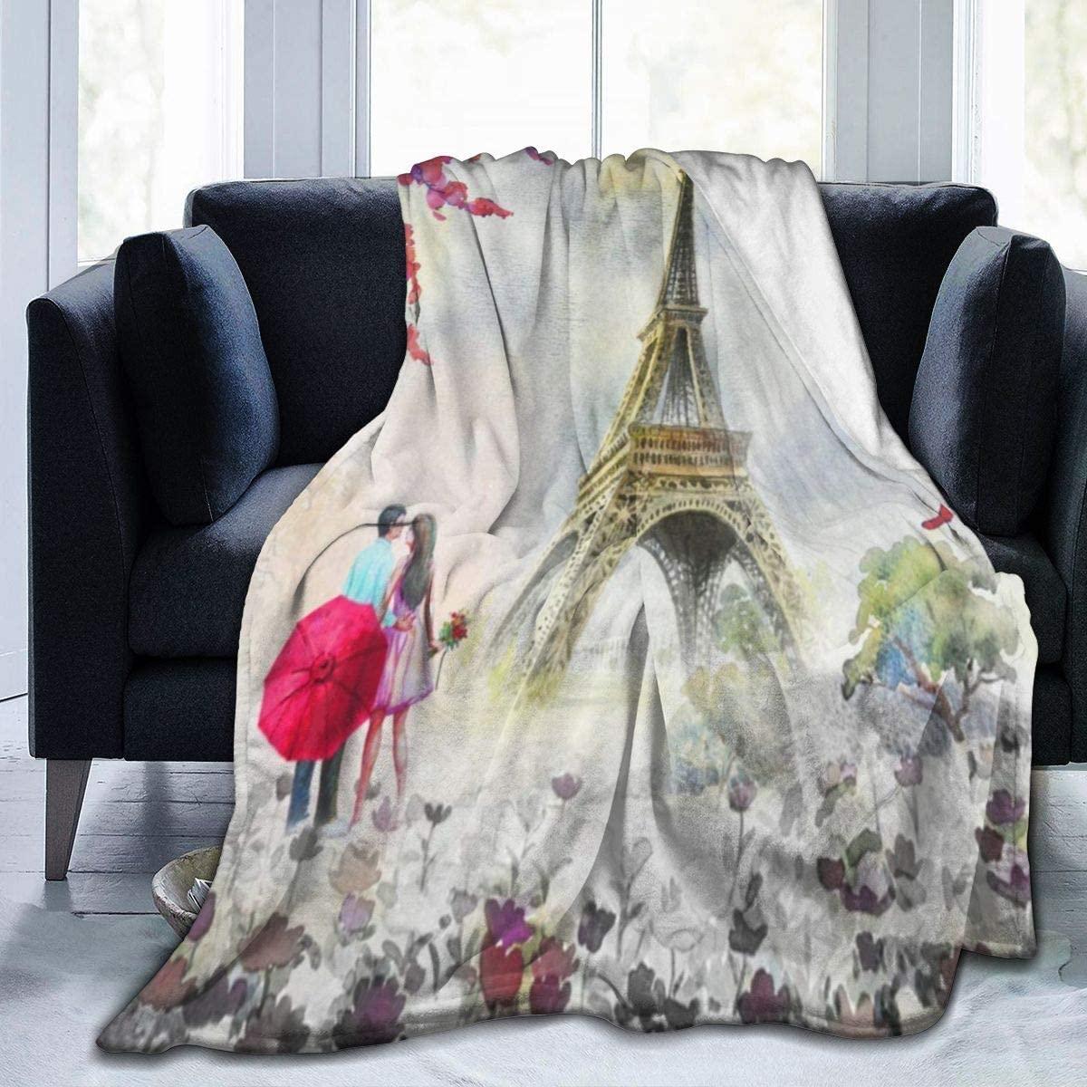 SLHFPX Micro Fleece Plush Soft Baby Blanket Romantic Eiffel Tower Lovers Fluffy Warm Toddler Bed/Crib Blanket Lightweight Flannel Daycare Nap Kids Sleeping Tummy Time Throw Blanket Girls Boy 50