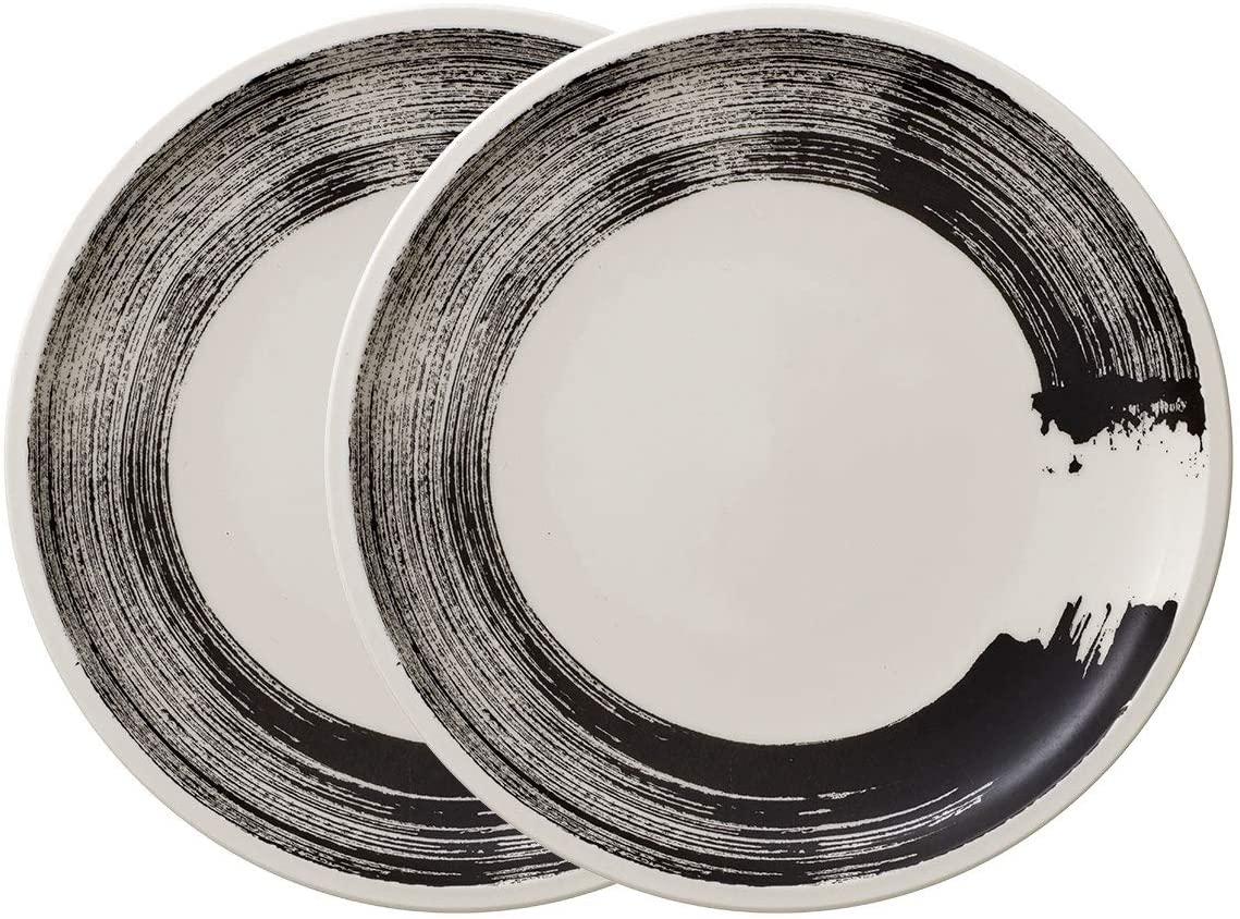 Villeroy & Boch Coffee Passion Awake Set of 2 Salad Plates, 8.5 in, Premium Porcelain, Black / White