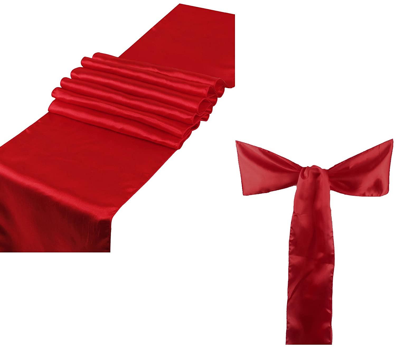 Elina Home Apple RED Satin 5 Table Runner & 25 Combo of TableRunner & Chair Bow Sash for Wedding