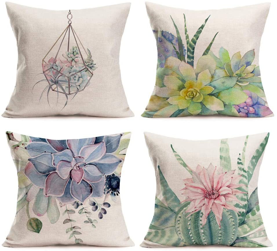 Aremazing Summer Style Colorful Succulents Plants Cactus Prickly Pear Home Décor Pillowcase Cotton Linen Throw Pillow Case Cushion Cover 18 x 18 Inches Set of 4,Birthday,Wedding Gift