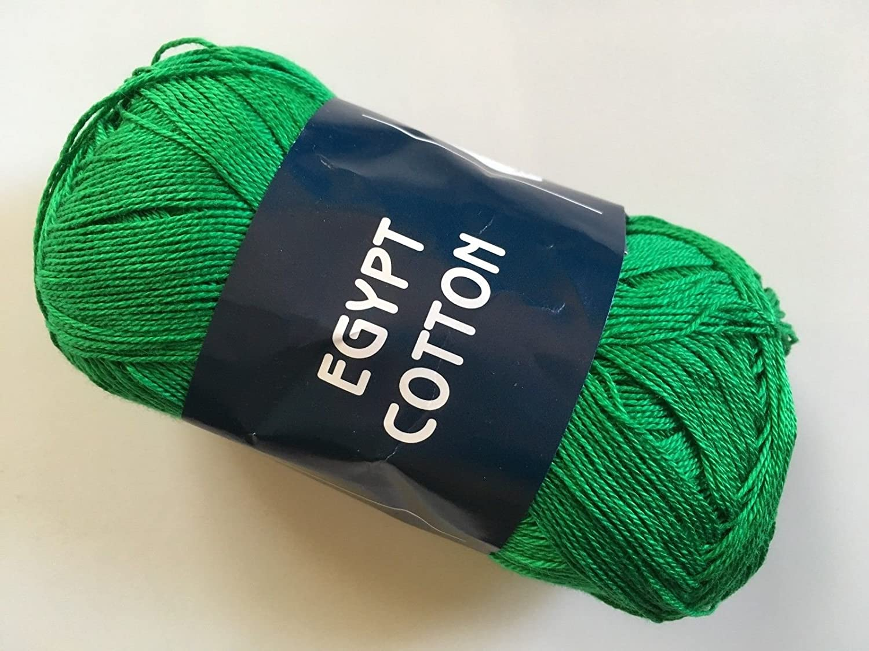 Feza Egypt Cotton - Green - Laceweight Yarn, 100% Mercerized Cotton 50 Gram 306 Yards
