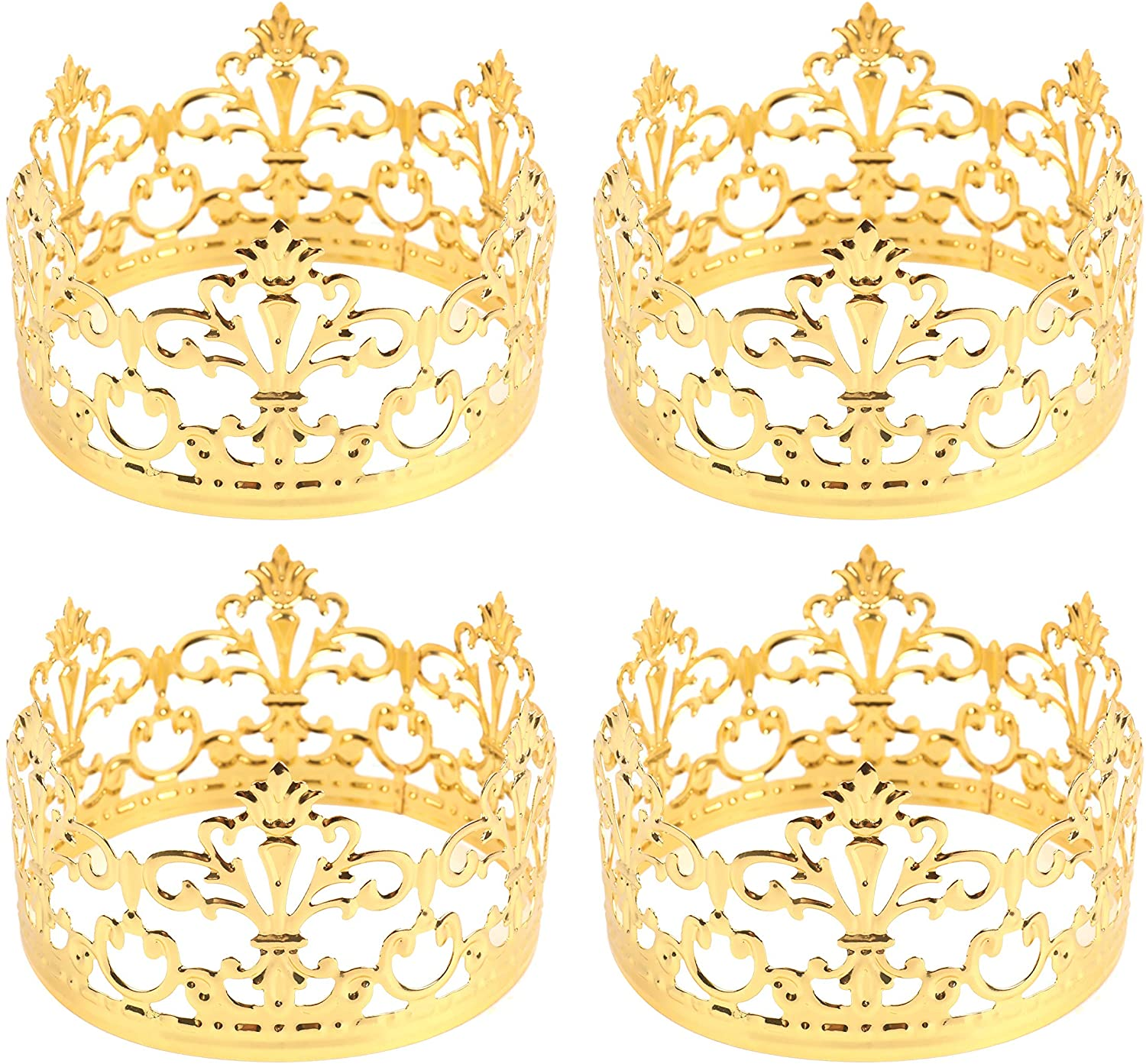 Fasmov 4 Pack Mini Prinrcess Gold Crown Cake Topper for Wedding Birthday Party Cake Decoration (Gold)