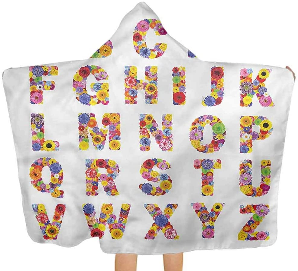 ThinkingPower Baby Hooded Bath Towel Letters, Colorful Flora Alphabet Unisex Toddler Bath Towels Perfect for Girls and Boys 51.5x31.8 Inch