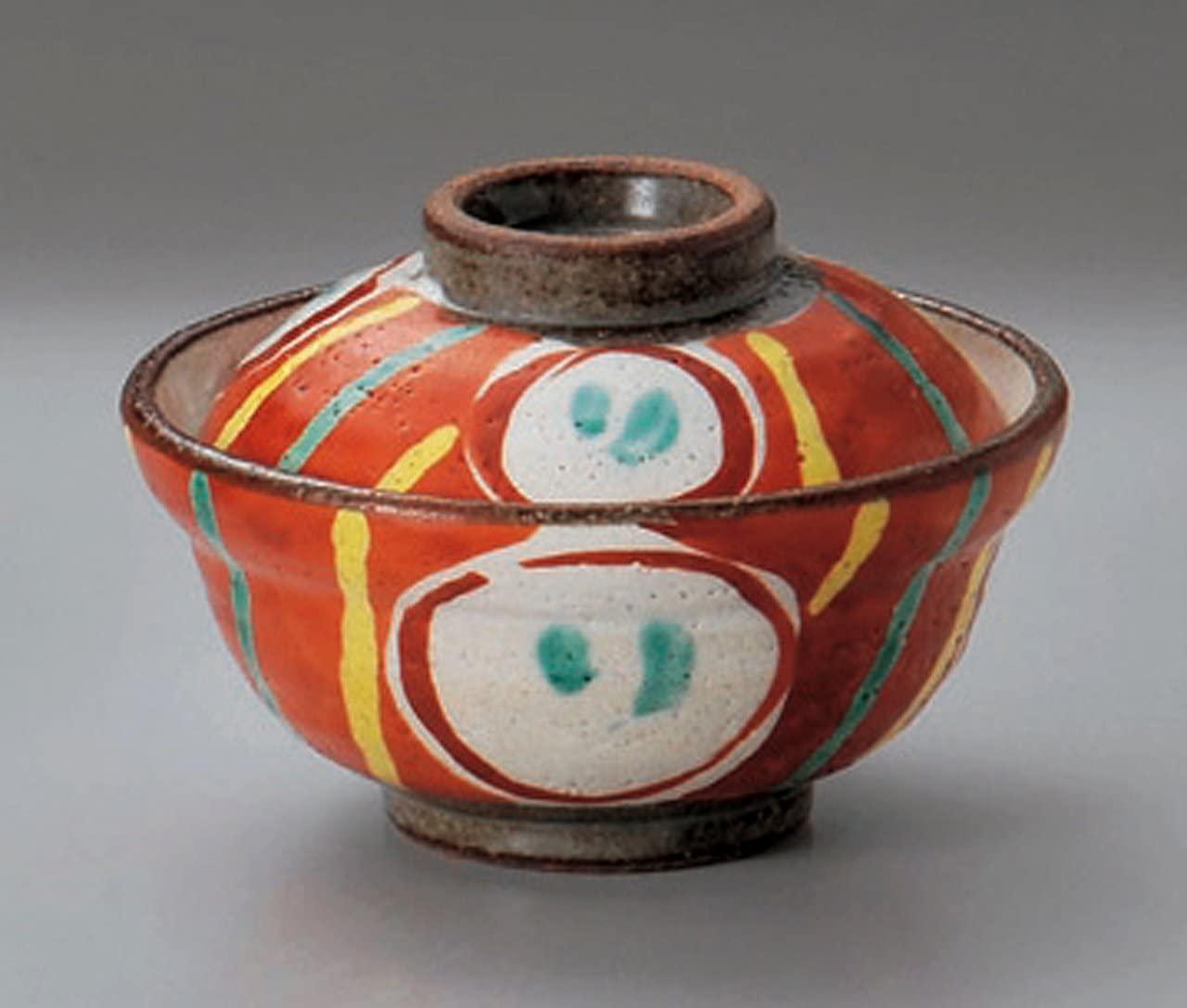 AKAE-MARUMON Tohki Japanese Pottery Small Bowl with the Cover