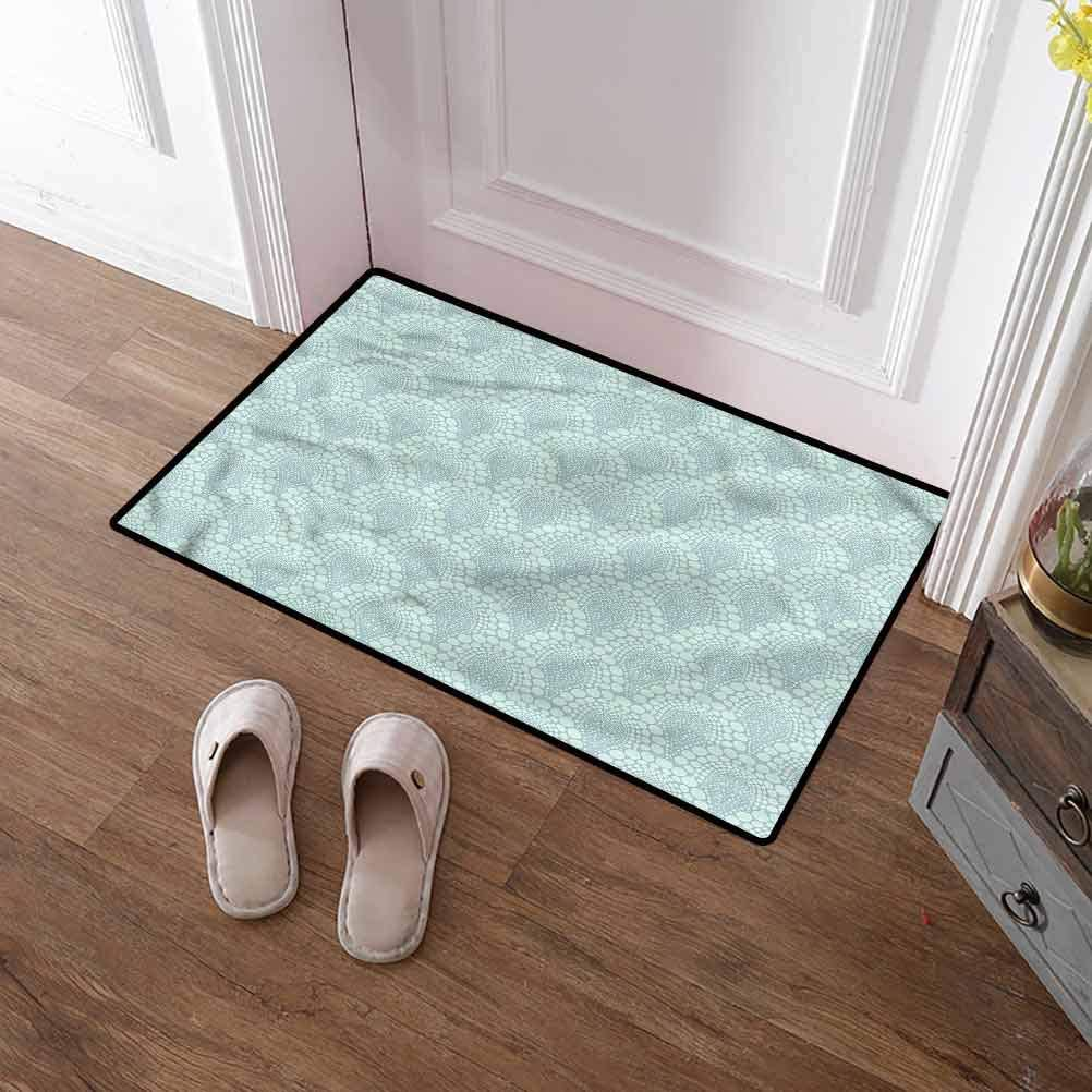 SCOCICI1588 Pet Mat Geometric, Dots Monochrome Circular Low-Profile Mats Wear-Resistant Easy to Clean 16 x 24 Inch