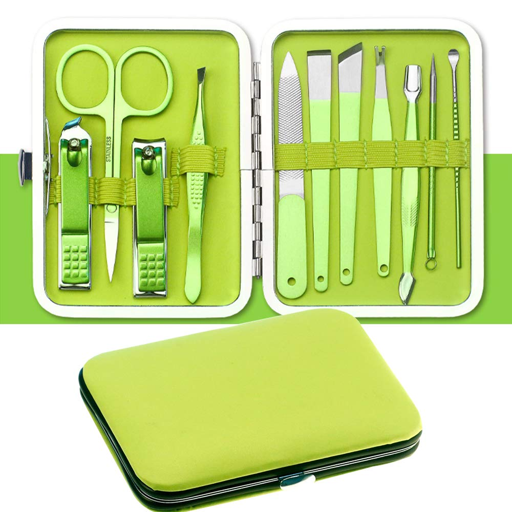 Manicure Set BOOMER VIVI Professional Nail Clippers Kit Pedicure Care Tools- Stainless Steel Women Men Grooming Kit 11Pcs for Travel or Home (Green)