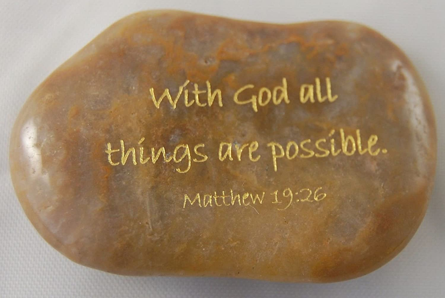 With God All Things Are Possible. Matthew 19:26 Engraved River Rocks - Scripture Verses
