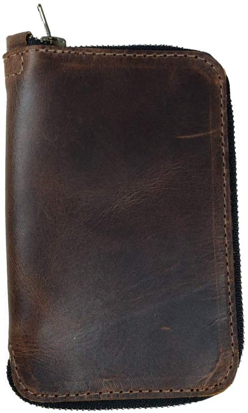 Hide & Drink, Rustic Durable Leather Zippered Journal Cover for Moleskine Notebook, Pocket (3.5 x 5.5 in.), Notebook NOT Included, Cahier Case, Handmade Includes 101 Year Warranty :: Bourbon Brown