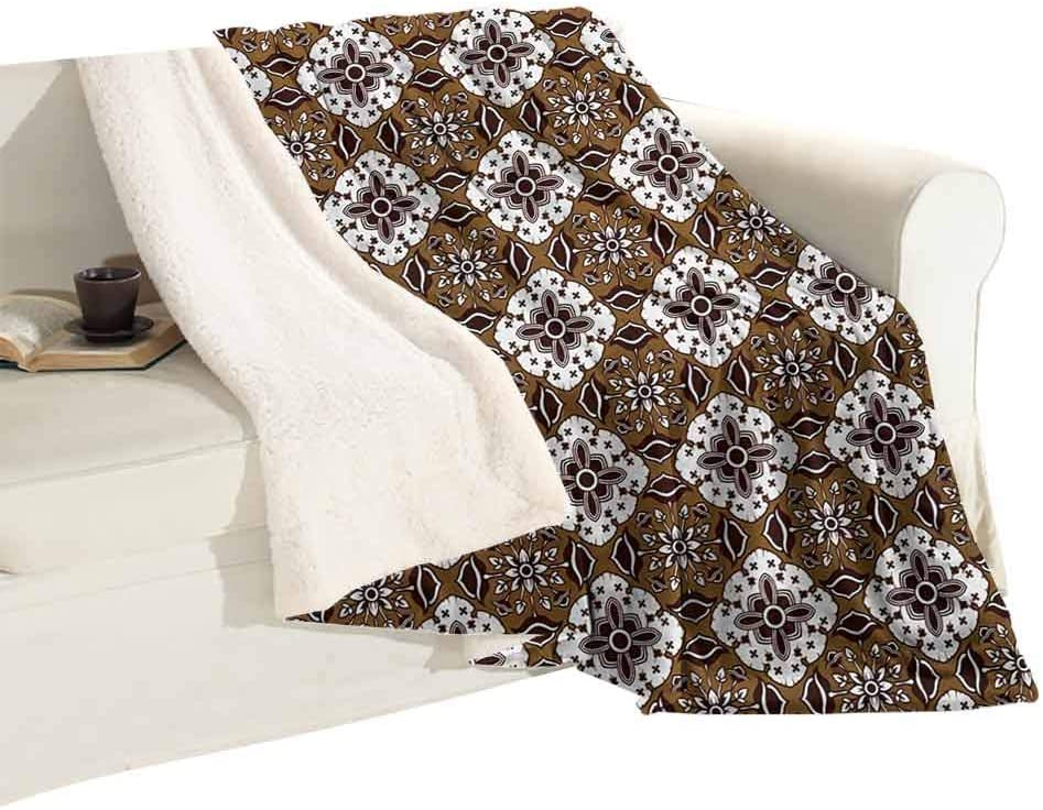 Super Warm Blanket Bed Blanket Brown Toned Ancestral Batik Pattern with Floral Indonesian Motifs Baby Warm Blanket Plush Microfiber, Suitable for Baby Bed W59 xL31