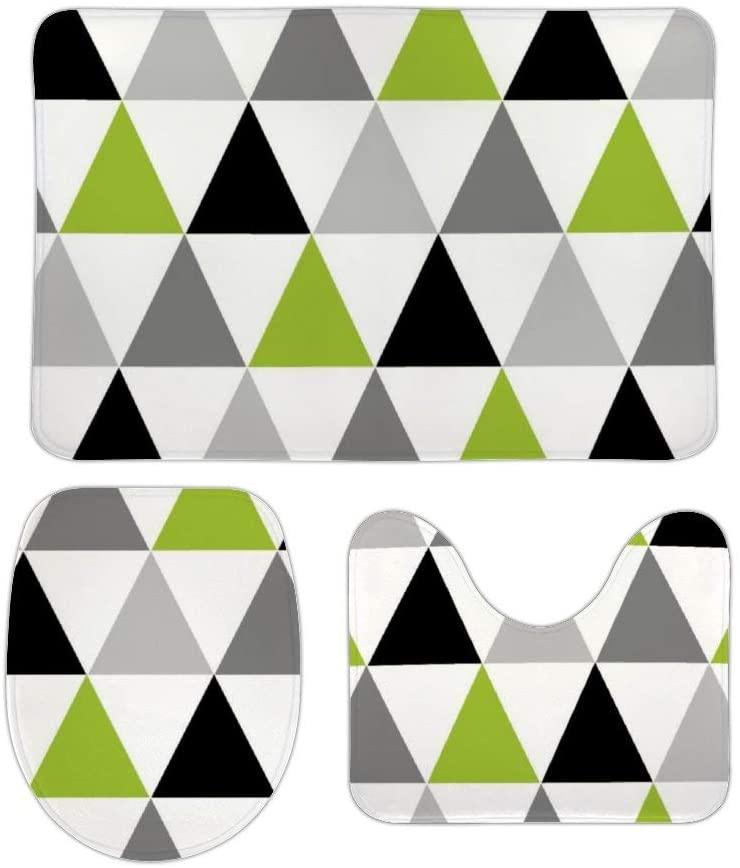 Yilooom 3 Pack Bath Mat Set, Lime Green Gray Black Triangles On White Absorbent Memory Foam Soft Shower Bath Rugs Contour Mat and Lid Cover,Non Slip Velvet Bathrug,Shower Toilet Bathmats Carpet