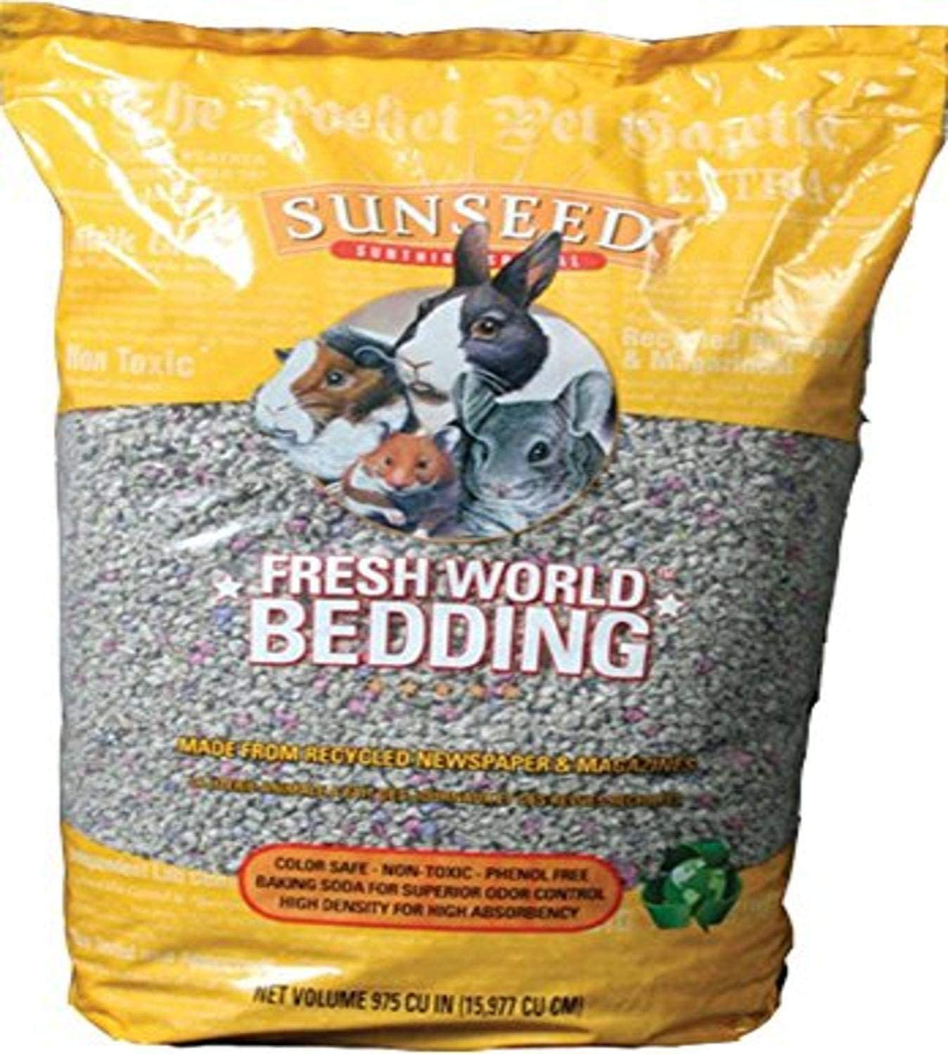 Sunseed 18221 Fresh World Bedding for Small Animals, Original Gray - 975 Cubic Inch